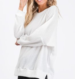 Ivory Waffle Knit Top