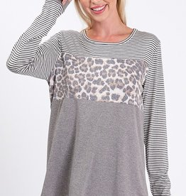 Leopard/Stripe Top