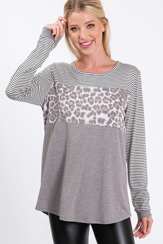 Leopard/Stripe Top