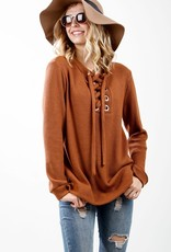 Rust Waffle Knit Tie Top