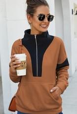 Coffee/Black 1/2 Zip Pullover