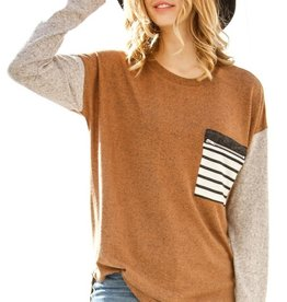 Rust/Taupe Zip Pocket Top