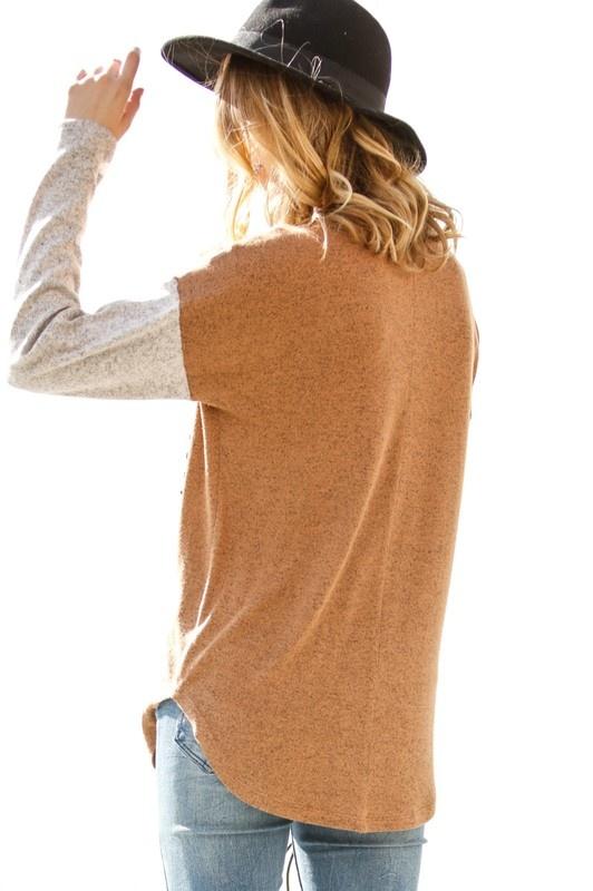 Rust/Taupe Zip Pocket Top
