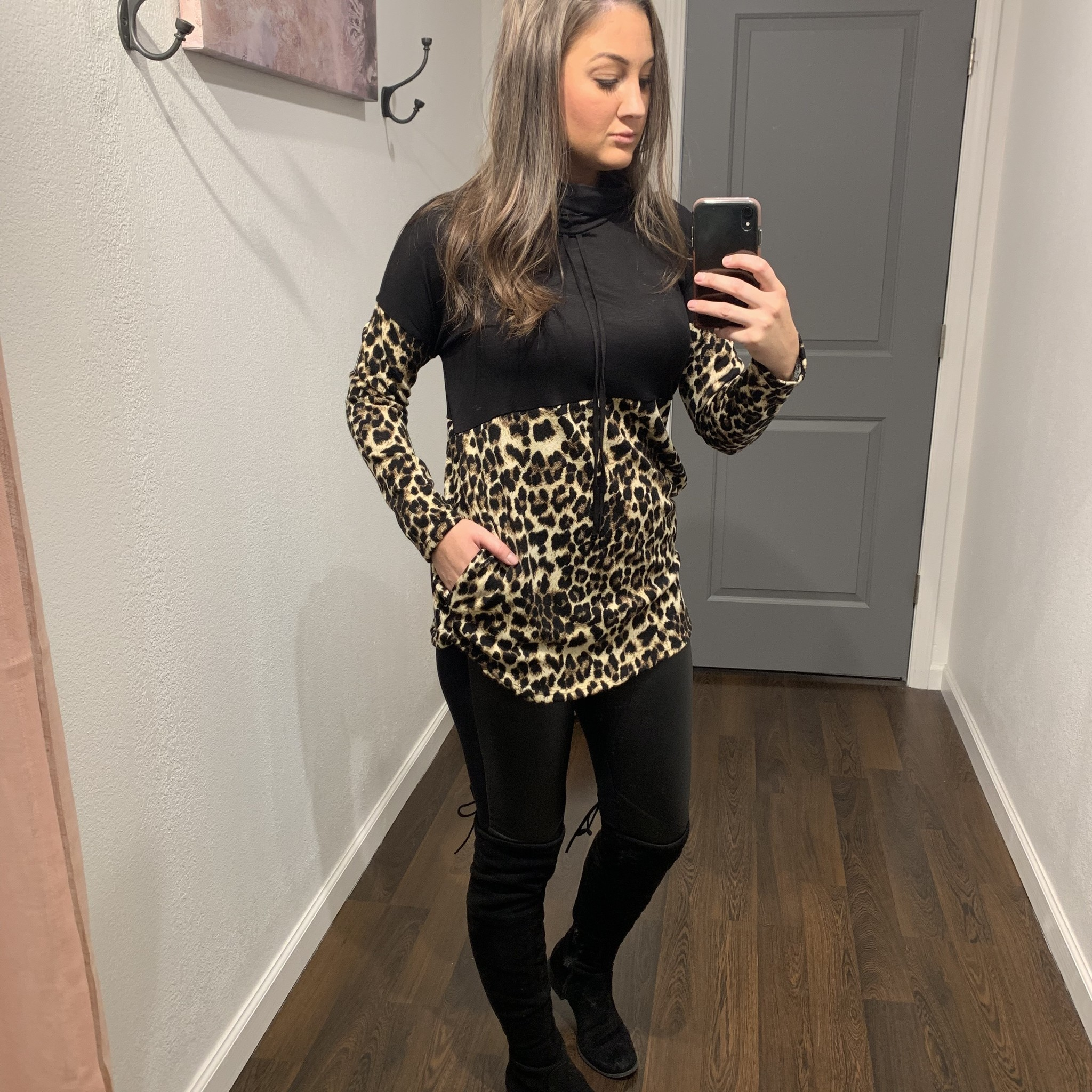 Black/Leopard Tunic