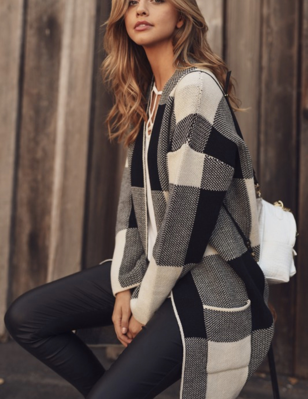 Black/Cream Knit Cardigan