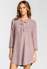 Mauve Tie Up Brushed Knit Dress