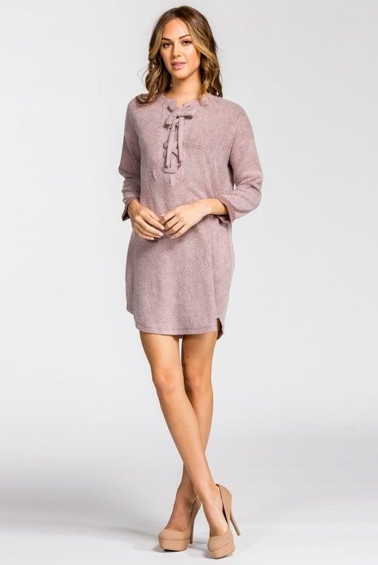 Mauve Tie Up Brushed Knit Dress