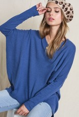 True Blue V Neck Sweater