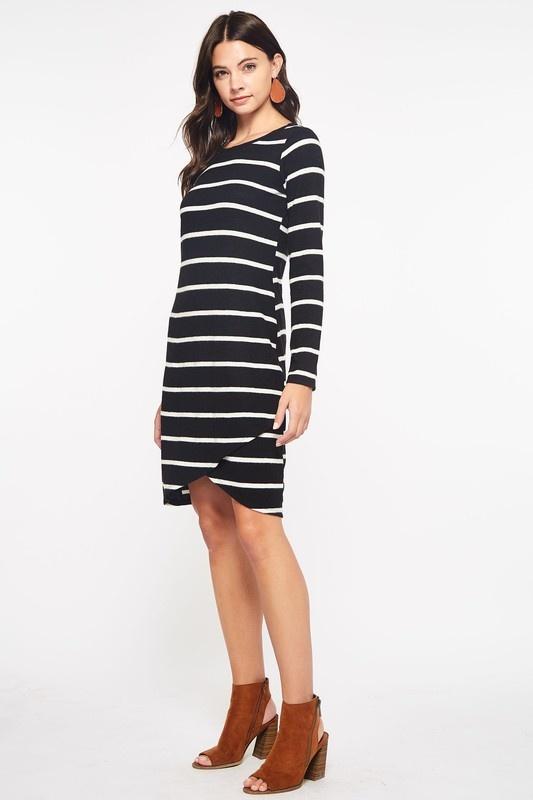 Black Stripe Sweater Dress