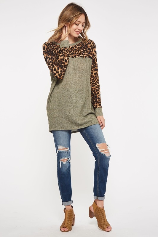 Grey//Olive Leopard Tunic