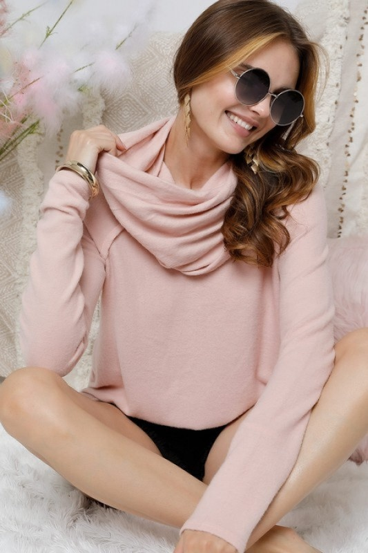 Pink Cowl Neck Tunic