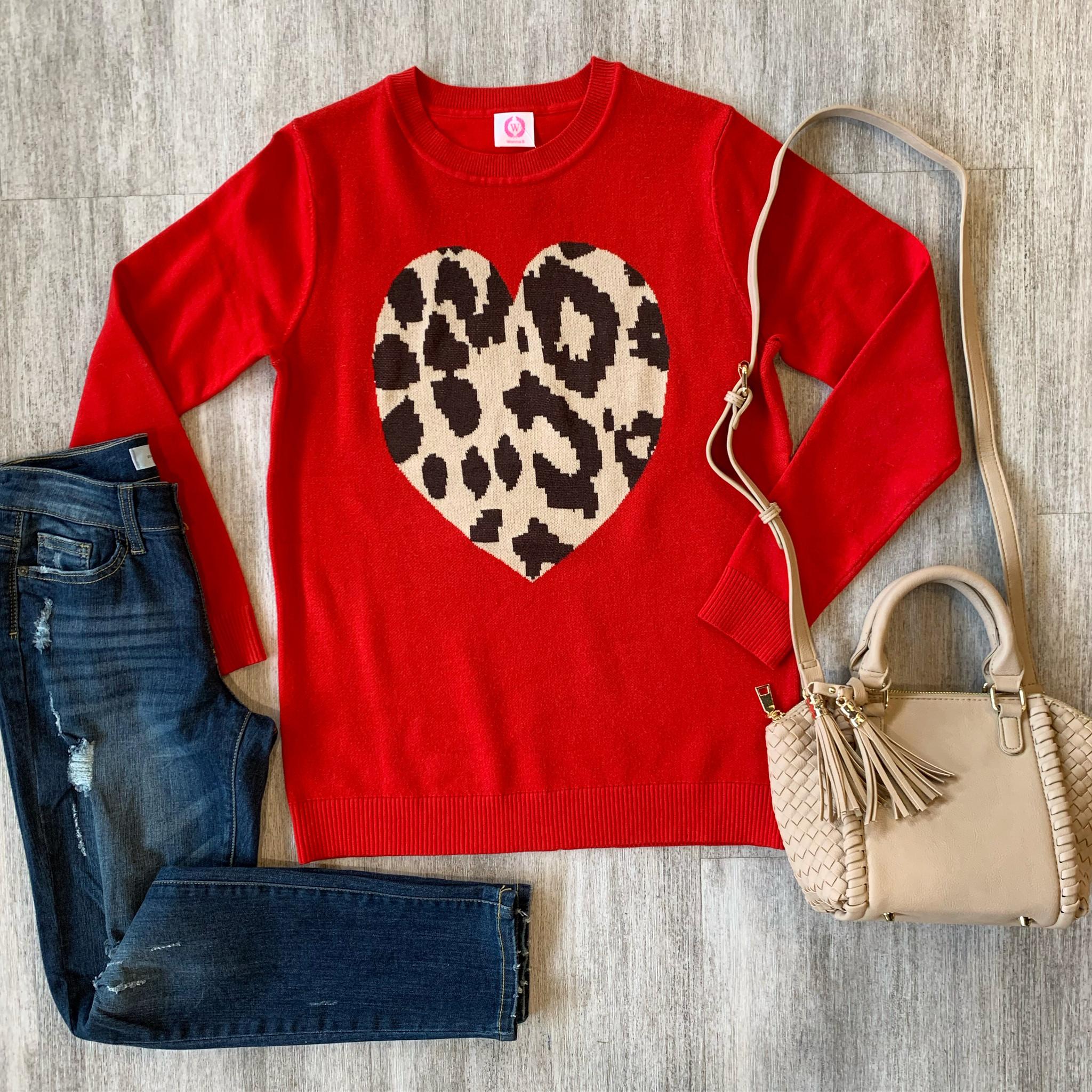 Red Leopard Heart Sweater
