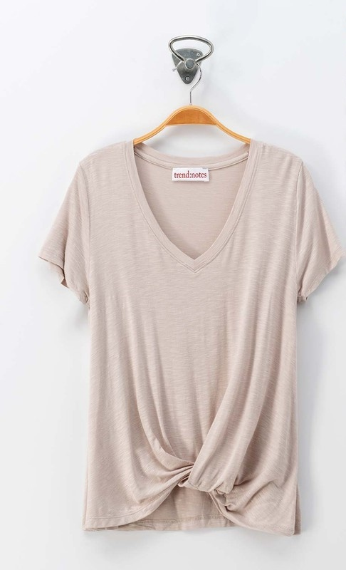 Beige V-Neck Twist Top