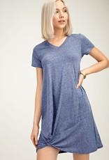 Heather Navy Knot T-Shirt Dress