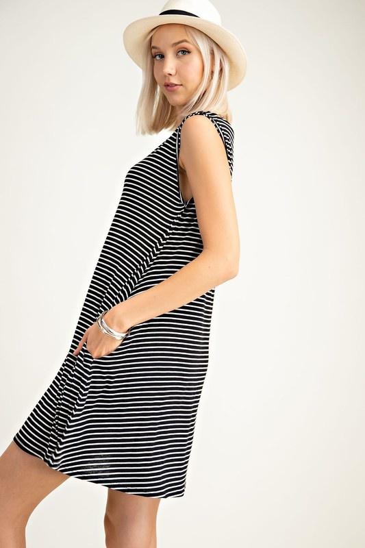 Olive Striped Sleeveless Dress