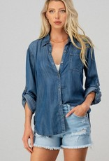 High-Low Denim Button-Up