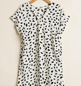 Off-White/Black Printed Dress