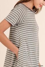 Charcoal Striped Dress