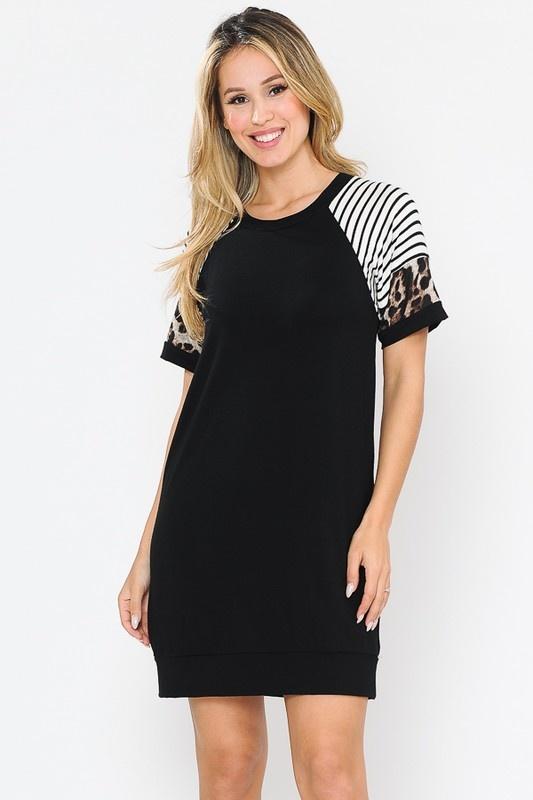 Black Stripe/Leopard Tunic