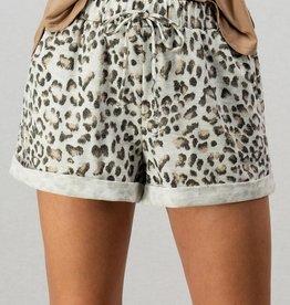 Grey Leopard Shorts