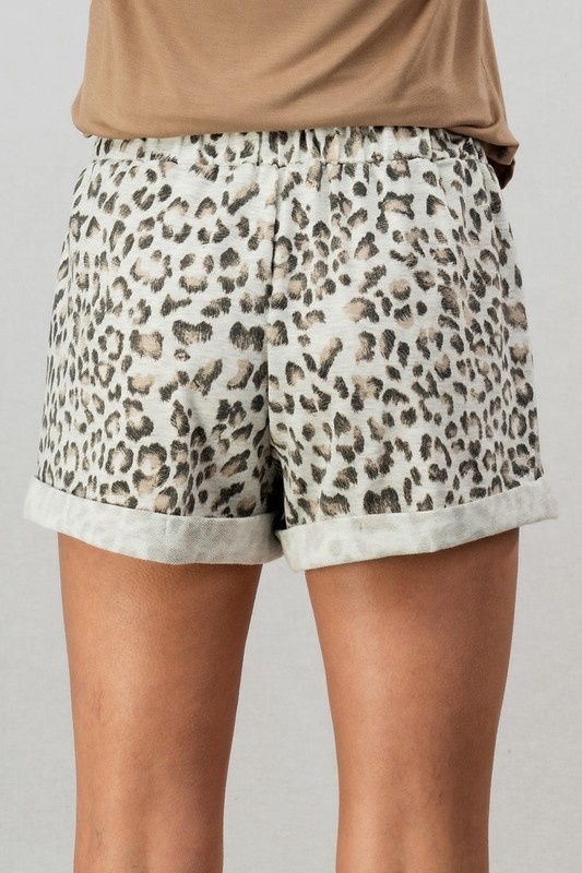 Grey Leopard Shorts