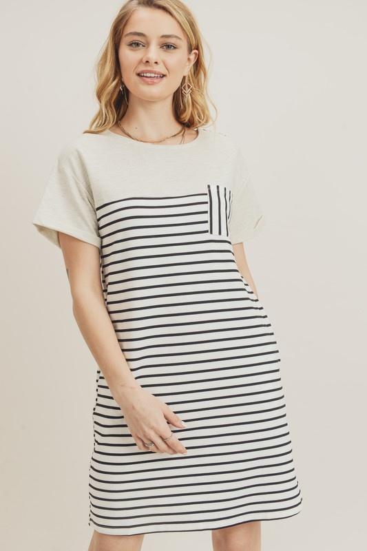 Ivory/Black Stripe Dress