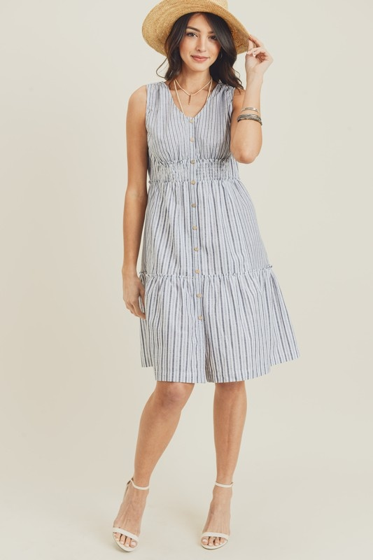 Blue/Grey Smock Dress