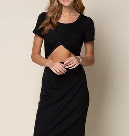 Black Ribbed Cutout Dress