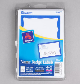 AVERY Name bagde Labeles - Blue Frame - 100 Badges