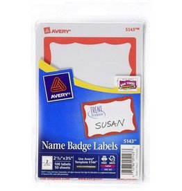 AVERY Name bagde Labeles - Red Frame - 100 Badges
