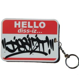 Dissizit Key Chain - Hello My Name Is - Red