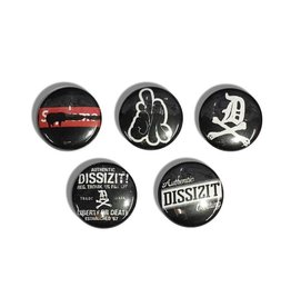 "DZT Button Pin Set - Black (Size 1"")"