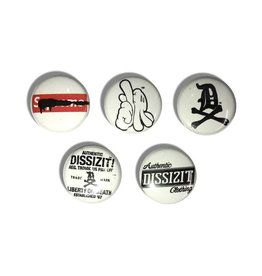 "DZT Button Pin Set - White (Size 1"")"