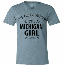 Michigan Party Girl V-Neck T-Shirt