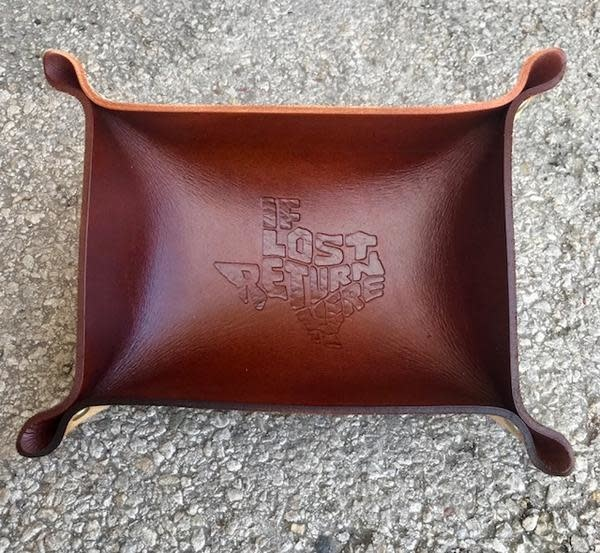 Callahan Leatherpress Rust If Lost Return Here Leather Valet