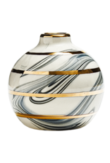 Eliana Bernard Round Bud Vase With Gold Stripes