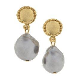 Grey Baroque Pearl Earrings