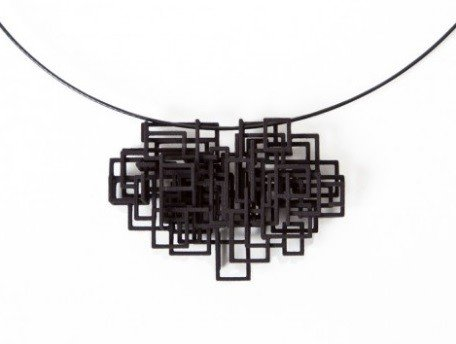 Melissa Borrell Black Square Pendant Necklace