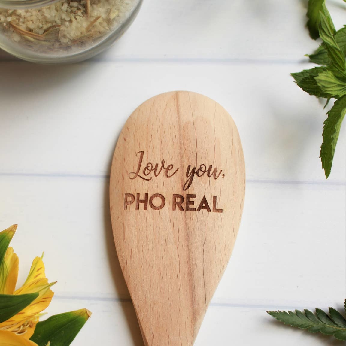 North To South Designs Love You, Pho Real Engraved Wooden Spoon