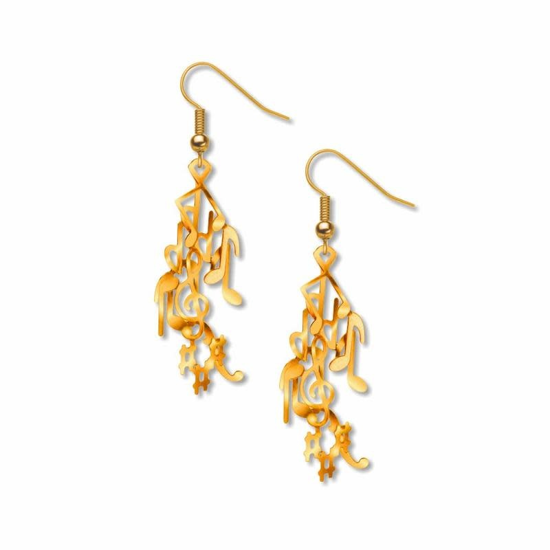Musical Gold Tone Notes Earrings