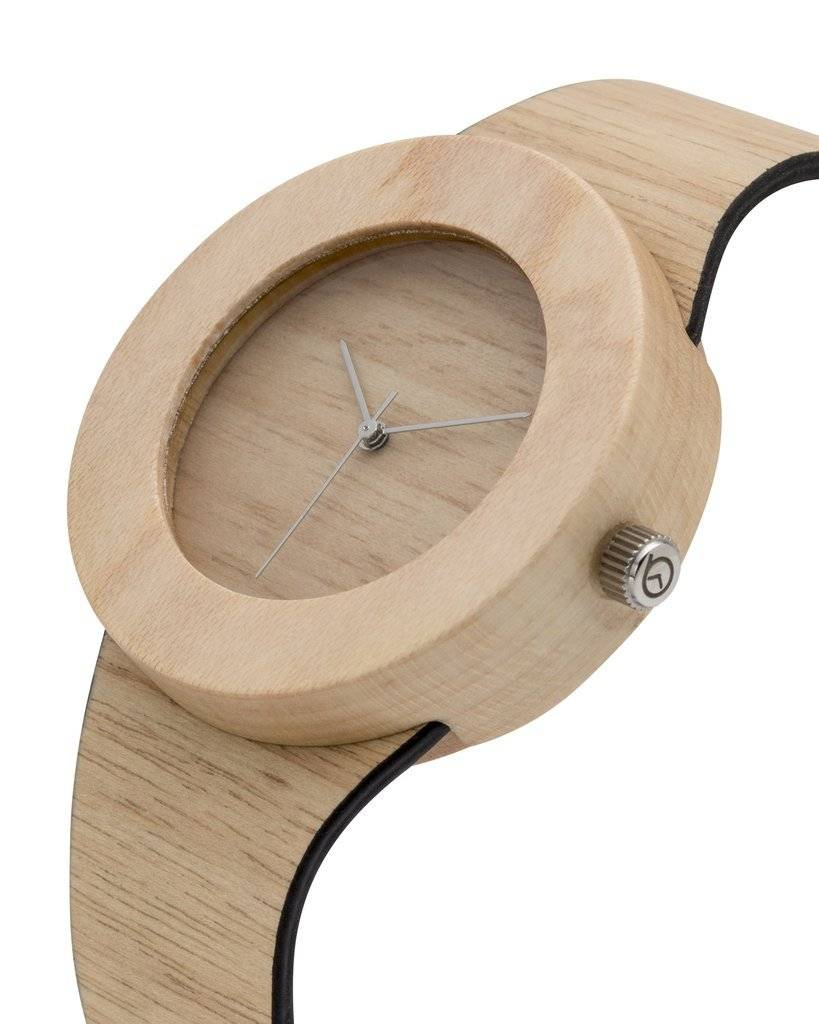 Analog Watch Co. Silverheart and Maple Wood Watch With Hour Markings