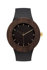 Analog Watch Co. Leather and Blackwood Wood Watch With Hour Markings