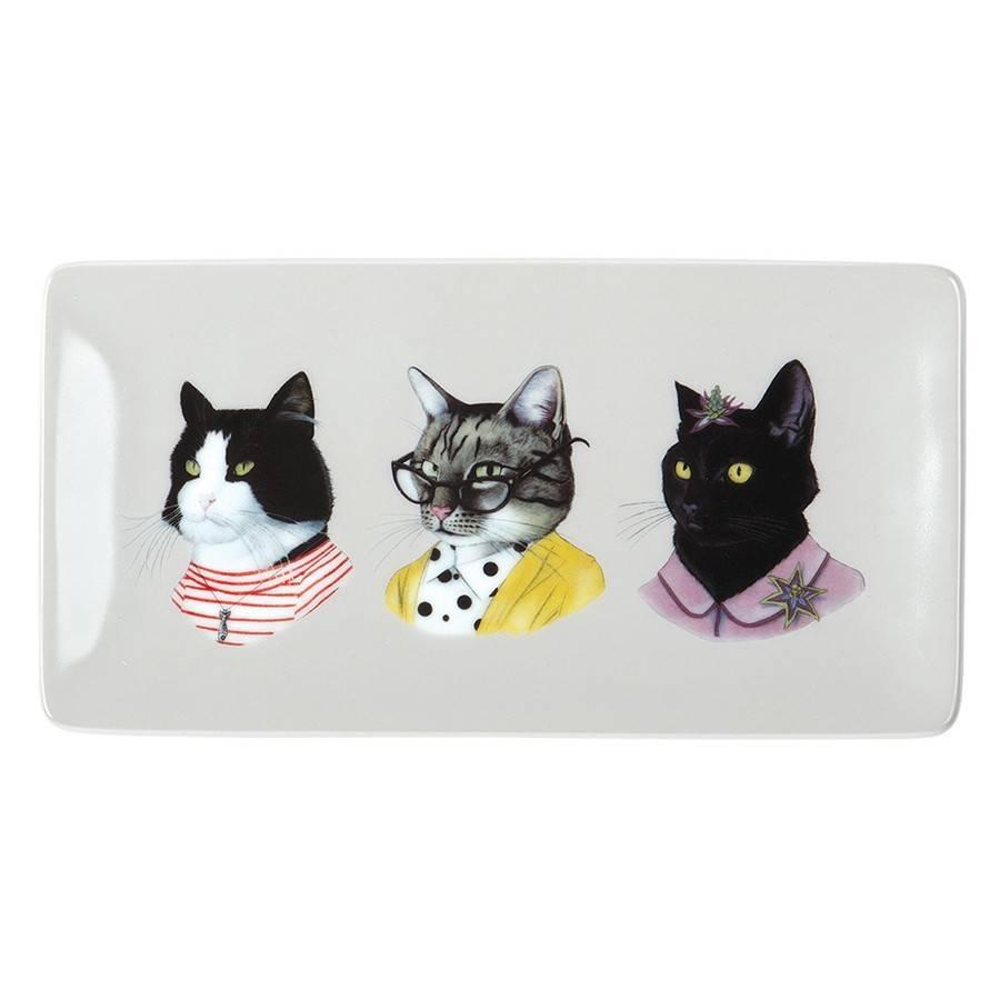 Berkeley Bestiary Cat Portraits Porcelain Tray