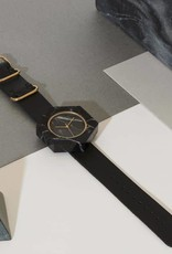 Analog Watch Co. Black Marble Hexagon Mason Watch With Black Strap