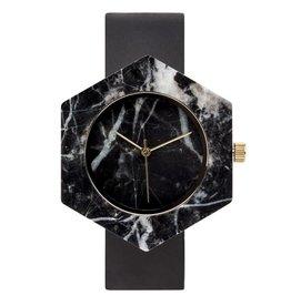 Analog Watch Co. Black Marble Hexagon Mason Watch With Black Strap