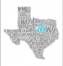 Tucker Ink Texas Cities Print (Fort Worth)