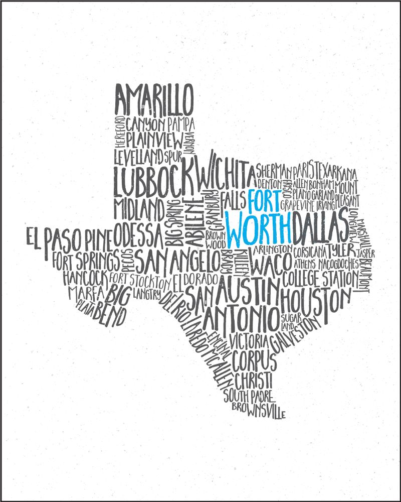 Tucker Ink Texas Cities Print (Fort Worth)