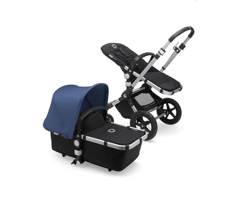 2018 Bugaboo Cameleon3 PLUS Stroller Base Aluminum - Black Bassinet/Seat/Underseatbasket With Canopy Sky Blue