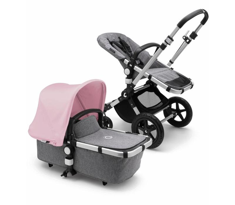 2018 Bugaboo Cameleon3 PLUS Stroller Base Aluminum - Grey Melange Bassinet/Seat/Underseatbasket With Canopy Soft Pink
