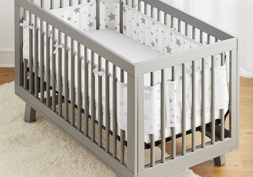 Breathable Baby Classic Breathable Mesh Crib Liners In Starlight White And Gray